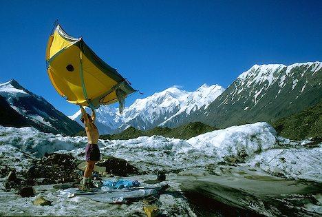 Photo of man at camp site at Muldrow Glacier