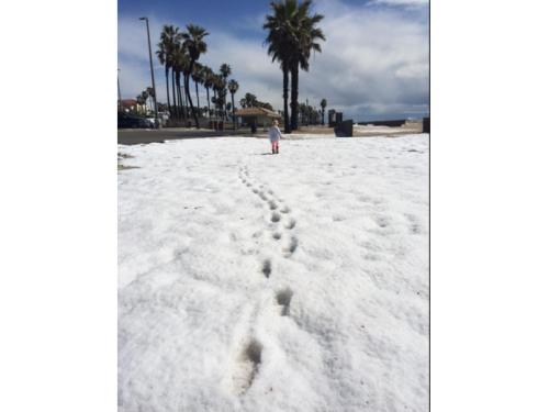 hail on beach