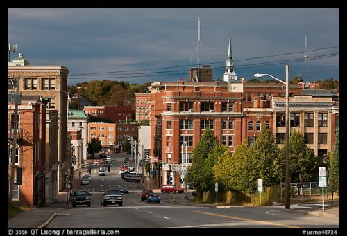 State Street and downtown. Bangor, Maine, USA
